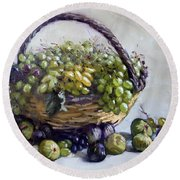 Fresh Grapes And Figs From Lida's Garden Round Beach Towel