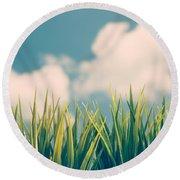 Fresh Green Grass Round Beach Towel