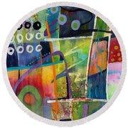 Round Beach Towel featuring the painting Fresh Jazz by Hailey E Herrera