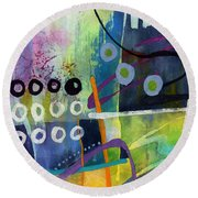 Round Beach Towel featuring the painting Fresh Jazz In A Square 2 by Hailey E Herrera