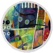 Round Beach Towel featuring the painting Fresh Jazz In A Square by Hailey E Herrera