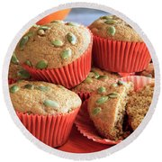 Fresh Out Of The Oven Pumpkin Muffins Round Beach Towel