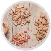 Fresh Peanuts, Shells, Raw Nuts And Peanut Butter Round Beach Towel