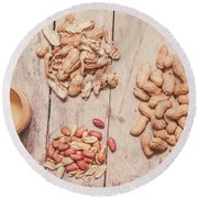 Fresh Peanuts, Shells, Raw Nuts And Peanut Butter Round Beach Towel