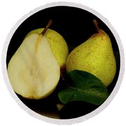 Fresh Pears Fruit Round Beach Towel by David French