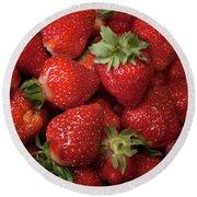 Fresh Picked Strawberries Round Beach Towel