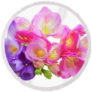Fresh Pink And Violet Freesia Flowers Round Beach Towel