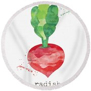 Fresh Radish Round Beach Towel