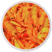 Fresh Shell Fish For Sale Round Beach Towel by Allan Levin