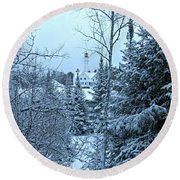 Round Beach Towel featuring the photograph Fresh Snow by Greta Larson Photography