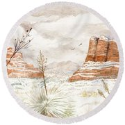 Fresh Snow On Bell Rock Round Beach Towel
