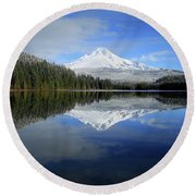 Fresh Snow On Mount Hood Round Beach Towel