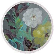 Round Beach Towel featuring the painting Fresh Start  by Robin Maria Pedrero