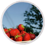 Round Beach Towel featuring the photograph Fresh Strawberriesl by Kennerth and Birgitta Kullman