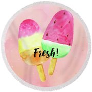 Fresh Summer Refreshing Fruit Popsicles Round Beach Towel