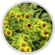 Fresh Sunflowers Round Beach Towel