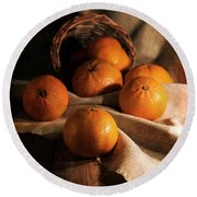 Round Beach Towel featuring the photograph Fresh Tangerines In Brown Basket by Jaroslaw Blaminsky