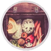Fresh Vegetables In Wooden Box Round Beach Towel