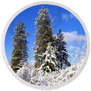 Round Beach Towel featuring the photograph Fresh Winter Solitude by Will Borden