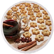 Freshly Baked Cheese Cookies And Hot Wine Round Beach Towel by GoodMood Art