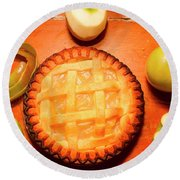 Freshly Baked Pie Surrounded By Apples On Table Round Beach Towel