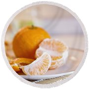 Round Beach Towel featuring the photograph Freshly Peeled Citrus by Cindy Garber Iverson