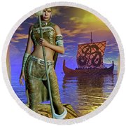 Round Beach Towel featuring the digital art Freya 2 by Shadowlea Is