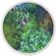 Round Beach Towel featuring the photograph Fritillaria And Forget-me-nots  by Connie Handscomb