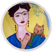 Round Beach Towel featuring the painting Frida And Her Cat by Pristine Cartera Turkus