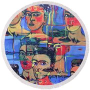 Frida Blue And Orange Round Beach Towel