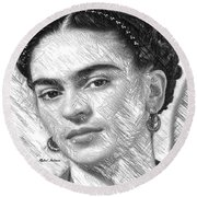 Round Beach Towel featuring the painting Frida Drawing In Black And White by Rafael Salazar
