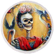 Frida Round Beach Towel by Heather Calderon