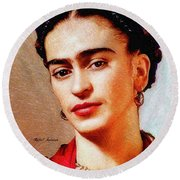 Round Beach Towel featuring the painting Frida In Red by Rafael Salazar