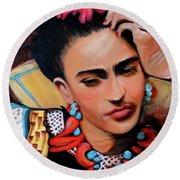 Frida Round Beach Towel by Jan VonBokel