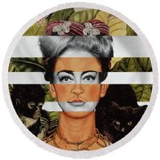 Frida Kahlo And Joan Crawford Round Beach Towel by Luigi Tarini