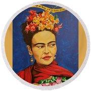 Frida Kahlo Round Beach Towel by Autumn Leaves Art