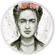 Frida Kahlo Portrait Round Beach Towel