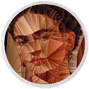 Round Beach Towel featuring the digital art Frida Kahlo by Rafael Salazar
