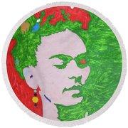 Frida Kahlo Round Beach Towel by Stormm Bradshaw