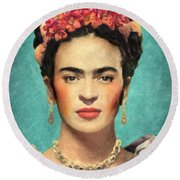 Frida Kahlo Round Beach Towel