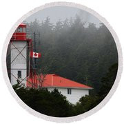 Friendly Cove Lighthouse And Flag Round Beach Towel