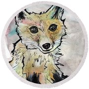 Friendly Fox Round Beach Towel