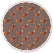Round Beach Towel featuring the mixed media Friendly Owls On Biscuit Brown by Nancy Lee Moran
