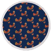 Round Beach Towel featuring the mixed media Friendly Owls On Midnight Blue by Nancy Lee Moran