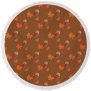 Round Beach Towel featuring the mixed media Friendly Owls On Rich Sienna Brown by Nancy Lee Moran