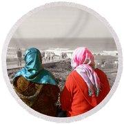 Friends, Morocco Round Beach Towel