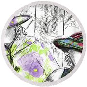 Round Beach Towel featuring the painting Friends And Flowers by Cathie Richardson