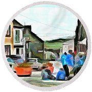 Round Beach Towel featuring the painting Friends At The Corner by Wayne Pascall