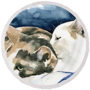 Friends Forever - Cat Painting Round Beach Towel