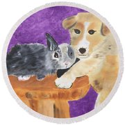 Buddies Round Beach Towel by Meryl Goudey